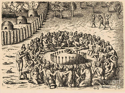 Theodor De Bry Photograph - Native American Funeral, C. 1500s by Photo Researchers