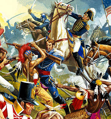 American Soldier Painting - Native American Indians Vs American Soldiers by Severino Baraldi