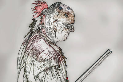 Huron Indian Digital Art - Native American Portrait French And Indian War by Randy Steele