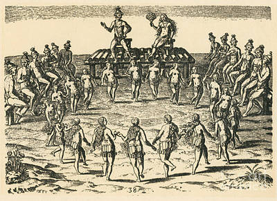 Theodor De Bry Photograph - Native American Wedding Ceremony, C by Photo Researchers