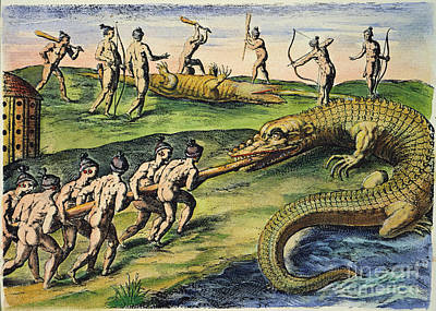 Native Americans: Crocodiles, 1591 Print by Granger