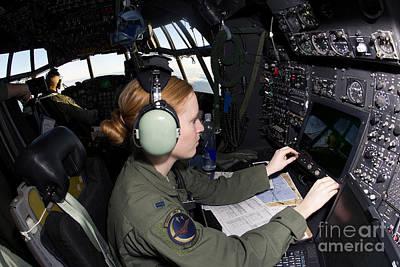 Navigator At Work In A Mc-130p Combat Print by Gert Kromhout