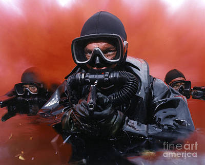 Navy Divers On A Training Print by Andrew Chittock