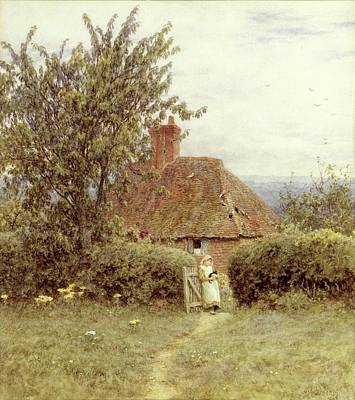 Chimneys. Flowers Painting - Near Haslemere by Helen Allingham