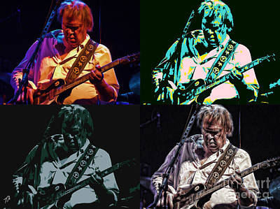 Neil Young Digital Art - Neil Young Pop by Tommy Anderson