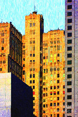 Neo-gothic Pacbell Building In San Francisco Print by Wingsdomain Art and Photography