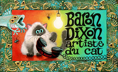 Humorous Cat Painting - Neocatism Bizcard by Baron Dixon