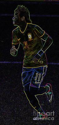 Neymar Photograph - Neon Neymar II by Lee Dos Santos