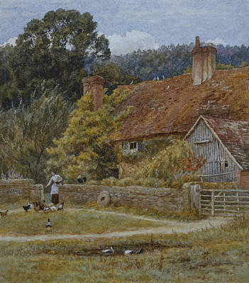 Surrey Painting - Netley Farm Shere Surrey by Helen Allingham