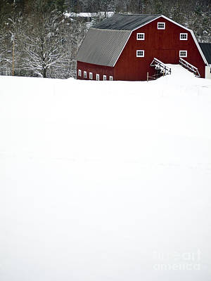Red Barn. New England Photograph - New England Winter by Edward Fielding
