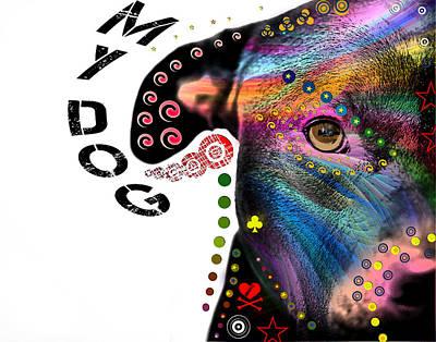 Dog Abstract Art Digital Art - New Guy In The Blok by Mark Ashkenazi