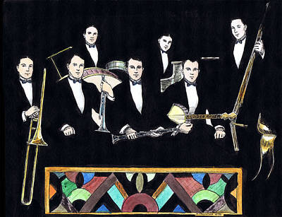 Trombone Drawing - New Orleans Rhythm Kings by Mel Thompson
