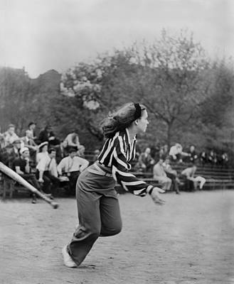 New York Baseball Parks Photograph - New York City, Woman Playing Softball by Everett