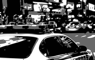 Police Cars Digital Art - New York Cop Car Bw3 by Scott Kelley