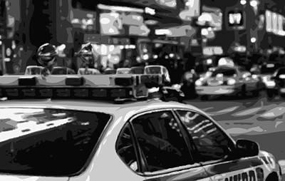 Police Cars Digital Art - New York Cop Car Bw8 by Scott Kelley