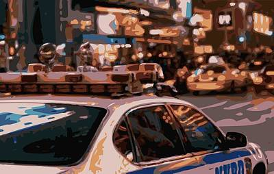 Police Cars Digital Art - New York Cop Car Color 16 by Scott Kelley