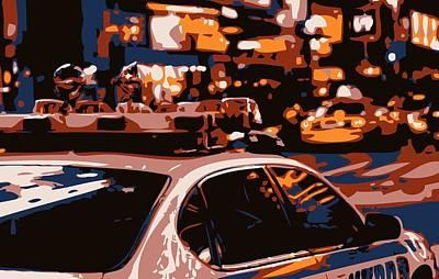 Police Cars Digital Art - New York Cop Car Color 6 by Scott Kelley