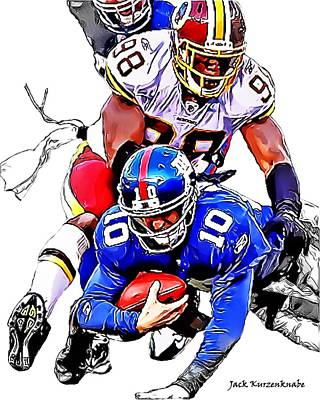 New York Giants Eli Manning -san Francisco 49ers Parys Haralson Print by Jack K