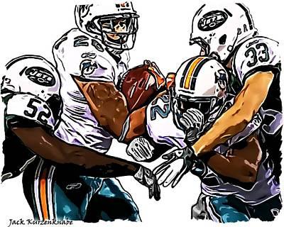 New York Jets David Harris And Eric Smith - Miami Dolphins Lex Hilliard And Reggie Bush Print by Jack K