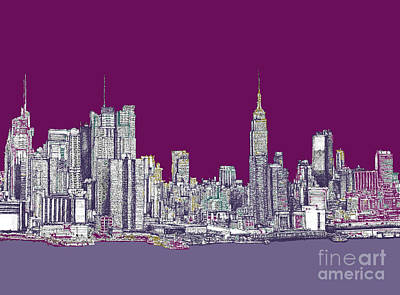 Times Square Drawing - New York Nyc In Purple by Building  Art