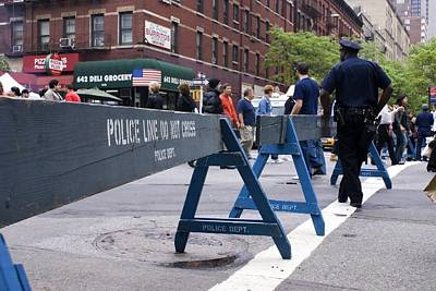New York Cops Photograph - New York Police Crowd Control Barriers. by Mark Williamson