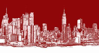 New York Rectangular Skyline Red Print by Building  Art