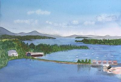 Plein Air Painting - Newport Vermont Aerial by Donna Walsh