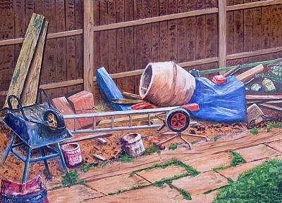 Next Doors Back Yard Print by Aleck Rich Seddon