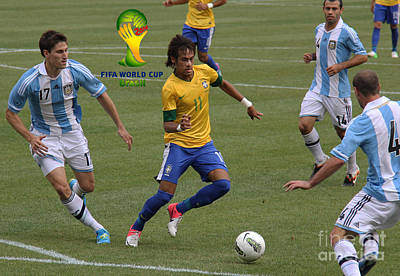 Neymar Doing His Thing Fifa Logo Print by Lee Dos Santos