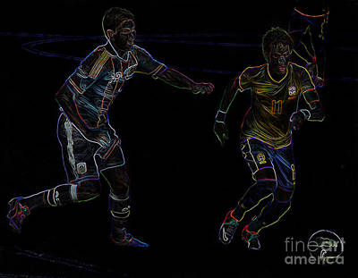 Neymar Doing His Thing Neon Print by Lee Dos Santos