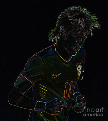Neymar Photograph - Neymar Neon by Lee Dos Santos