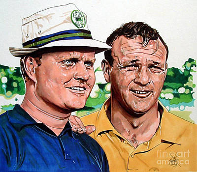 Arnold Palmer Drawing - Nicklaus And Palmer by Neal Portnoy