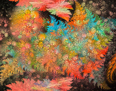 Fractal Digital Art - Night In The Forest by Betsy Knapp