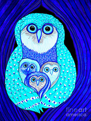 Owl Mixed Media - Night Owls by Nick Gustafson