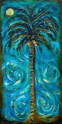 Night Palm Print by Linda Olsen