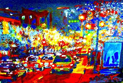 Commerce Mixed Media - Night Traffic by Rom Galicia