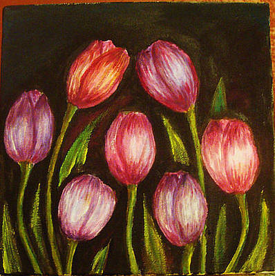Painting - Night Tulips by Jeanne Mytareva