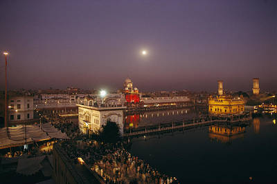 Night View Of Amritsar Print by James P. Blair