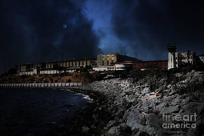 Nightfall Over Hard Time - San Quentin California State Prison - 5d18454 Print by Wingsdomain Art and Photography