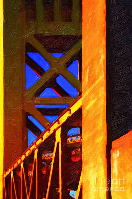 Historical Bridge Digital Art - Nightfall Over Sacramento In Abstract . Vision 2 by Wingsdomain Art and Photography