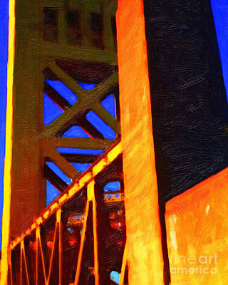 Historical Bridge Digital Art - Nightfall Over Sacramento In Abstract by Wingsdomain Art and Photography