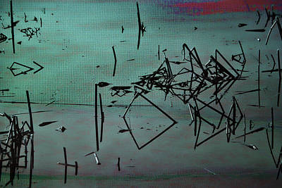 Waterscape Mixed Media - Nightfall Over The Wetlands by Bonnie Bruno