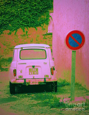No Parking Sign With Pink Car Print by Lainie Wrightson