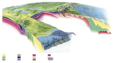 North American Geology And Oil Slick Print by Gary Hincks