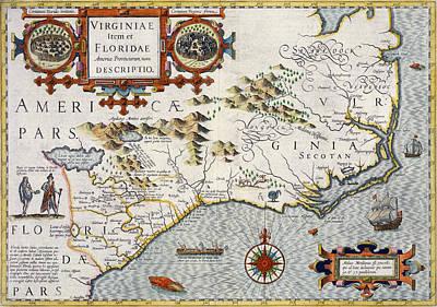 Border Drawing - North Carolina by Jodocus Hondius