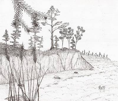 Drawing - North Shore Memory... - Sketch by Robert Meszaros
