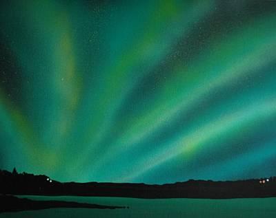 Northern Lights Cabin 3 Print by DC Decker
