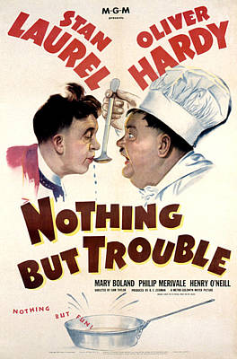 Postv Photograph - Nothing But Trouble, Stan Laurel by Everett