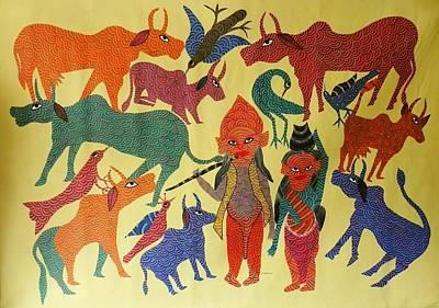 Gond Painting - Ns 29 by Nankusia Shyam