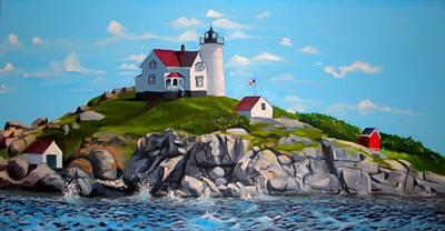 Cape Neddick Lighthouse Painting - Nubble by Welder Ramiro Vasquez